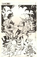 Gaijin Studios Christmas Card Jam Piece - Adam Hughes, Brian Stelfreeze, Cully Hamner, and Karl Story - 1999 Signed Comic Art