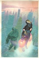 Avengers #2 Variant Painted Cover - Flying Iron Man and the Hulk - 2012 Signed Comic Art