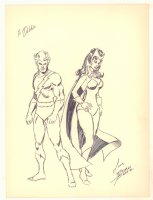Quicksilver and Wanda the Scarlet Witch Vintage Drawing - Signed Comic Art