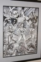 Wonder Woman, Elektra, Catwoman, Superman, Batman, Daredevil Poster Size Commission - Signed Comic Art