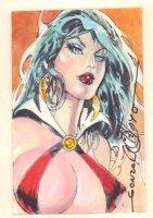 Vampirella Painted Card Sized Art #3 - Signed Comic Art