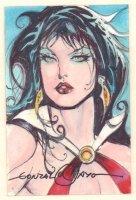 Vampirella Painted Card Sized Art #5 - Signed Comic Art