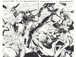 Uncanny X-Men #14 pgs. 10 & 11 - Psylocke, Sabretooth, Angel, & Others Action DPS - 2016 Comic Art