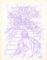 Inhumans and Deadpool Pencil Cover Prelim - Deadpool on the Throne and Black Bolt - Signed Comic Art