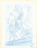 Black Panther, Black Widow, and Spider-Man #C Pencil Cover Prelim - Signed Comic Art
