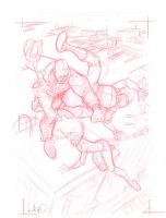 Rocketeer Red Pencil Cover Prelim - Signed Comic Art