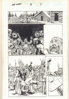 Captain Marvel #17 p.1 - Thor in Viking Village with Babe - 2001  Comic Art