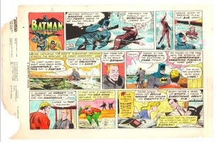 Batman with Robin the Boy Wonder Sunday Strip Color Guide and Negative - Aquaman - 12/8/1960's Comic Art