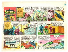 Batman with Robin the Boy Wonder Sunday Strip Color Guide and Negative - Aquaman and Batman Swimming - 11/24/1960's Comic Art