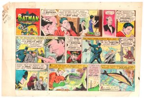 Batman with Robin the Boy Wonder Sunday Strip Color Guide and Negative - Batman and Aquaman - 10/13/1960's Comic Art