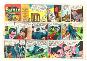 Batman with Robin the Boy Wonder Sunday Strip Color Guide and Negative - Clark Kent and Batcopter - 7/7/1960's Comic Art