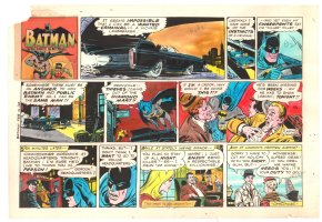 Batman with Robin the Boy Wonder Sunday Strip Color Guide and Negative - Batmobile - 2/16/1969 Comic Art