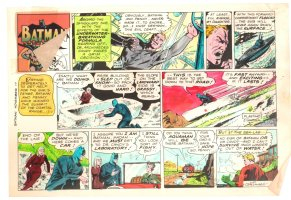 Batman with Robin the Boy Wonder Sunday Strip Color Guide and Negative - Batman and Aquaman - 11/17/1960's Comic Art