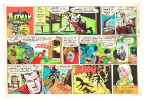 Batman with Robin the Boy Wonder Sunday Strip Color Guide and Negative - Prof Zinkk and Superman - 1960's Comic Art
