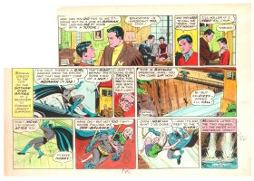 Batman with Robin the Boy Wonder Sunday Strip Color Guide and Negative - Batman Rescues Babe - 8/25/1960's Comic Art