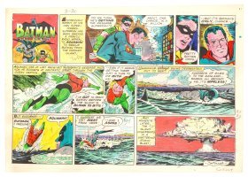 Batman with Robin the Boy Wonder Sunday Strip Color Guide and Negative - Superman and Aquaman - 3/31/1960's Comic Art