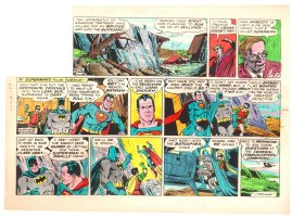 Batman with Robin the Boy Wonder Sunday Strip Color Guide and Negative - Superman Flies Off - 6/16/1960's Comic Art