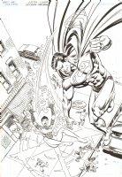 JLA #94 Cover - Superman and Faith - 2004 Signed Comic Art