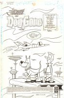 The Flintstones and the Jetsons #13 p.1 - George Jetson Walking Astro Title Splash - 1998 Signed Comic Art