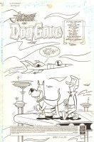 The Flintstones and the Jetsons #13 p.1 - George Jetson Walking Astro Title Splash - 1998 Signed Comic Art