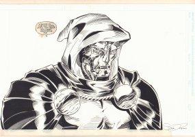 Doctor Doom Threatening Stan Lee Art - Signed Comic Art