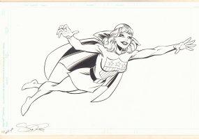 Miss America Full Length Flying Merchandise Art - Golden Age Character - Signed Comic Art