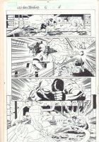 Last Hero Standing #5 p.4 - Hulk vs. Loki - Blue Line Ink Art Only of Pat Olliffe Pencils - 2005 Signed Comic Art