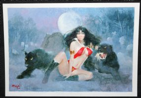 Vampirella with Two Black Panthers Painted Art - Signed Comic Art