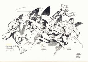 Flash, Wonder Woman, Batman, Green Lantern, and Superman Jam Piece - Signed art by Mike Wieringo, George Perez, Mike Deodato, & Drew Geraci Comic Art