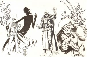 Convention Jam Piece - Gentlemen Ghost and Shadow Thief by Tim Truman - Kobra by Robert Atkins - Gizmo by Art Baltazar - Ambush Bug by Keith Giffen Comic Art