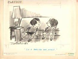 Playboy Published Cartoon - ''I'm a Baby Fat Man Myself'' - 1971 Signed Comic Art