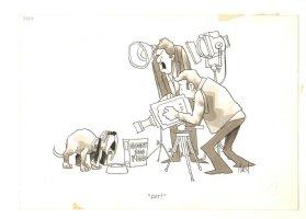 Dog Shooting a Commercial Tru Mag Gag - 1971 Signed Comic Art