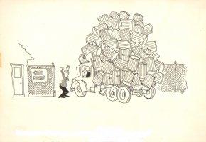 City Dump Gag Signed - 1966 Comic Art
