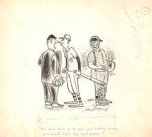 Funny Baseball Gag Art 1972 (10.5 x 12 ) Comic Art