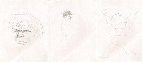 Hulk Pencil Drawings - Set of Three Comic Art