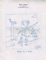 Born on a Farm  - Blue Pencil Art on Sketch Paper Comic Art