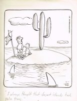 Deserted Island Cactus / Sharks 6-7-77 Comic Art
