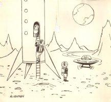 Astronauts Land on Moon w/ Alien - Late 50's Humorama  Comic Art