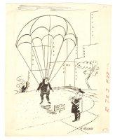 Parachute 'Keep Off The Glass' Humorama Gag - 1960s Signed Comic Art