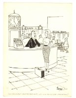 Babe at Train Station Humorama Gag - 1957 Signed Comic Art