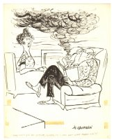 Husband Smoking Pipe Humorama Gag - 1961 Signed Comic Art