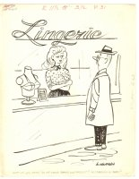 High Beam Babe at Lingerie Counter Humorama Gag - 1963 Signed Comic Art