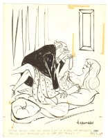 Babe Getting Pearl Necklace from Older Man Humorama Gag - 1958 Signed Comic Art