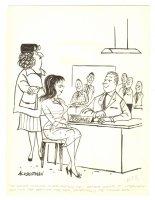 Mom Wants to Screen Potential Husbands Humorama Gag - 1961 Signed Comic Art