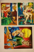 Mark McNabb Color Art of Blond Babe over Bill Ward Stat  Comic Art