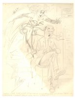 Adult Nudity Cartoon Pencil Prelim - ''Until I see just what form these wild impulses of yours take, I'm afraid I can't help you Miss Larue!'' - Signed Comic Art
