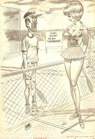 Super Sexy Tennis Girl 'Fun House' Gag on Craft-Tint Board - 1966 Signed Comic Art
