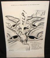 Policeman Directing Traffic Gag - LA - Signed Comic Art