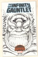 The Infinty Gauntlet Blank Variant Cover with a Thanos Portrait Sketch on It - Signed Comic Art
