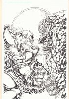 Thanos vs. The Thing Cover-esque Commission - Signed Comic Art